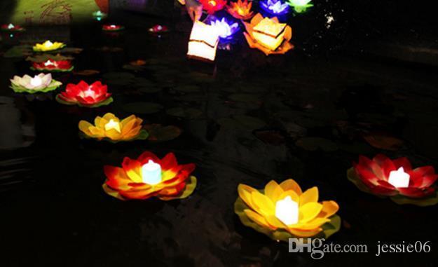 Lámpara de vela de loto de seda impermeable rezar Deseando agua flotante que deseen linternas para fiesta de cumpleaños de cumpleaños Luces decorativas de San Valentín