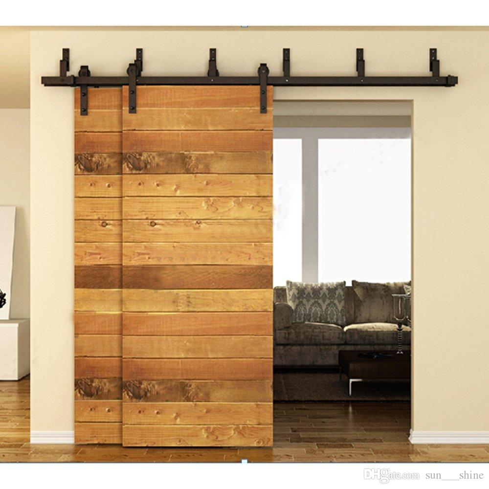 5-16FT Antique Bypass Ship From USA Double Sliding Barn Wood Door Hardware Cabinet Closet System Black Barn Door Hardware Slide Barn Door Double Door ... & 5-16FT Antique Bypass Ship From USA Double Sliding Barn Wood Door ...