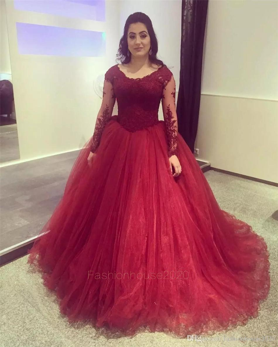 Vintage Lace Long Sleeve Wedding Dresses Red V Neck Organza Puffy Ball Gown Wedding Dress Plus Size Bridal Gowns