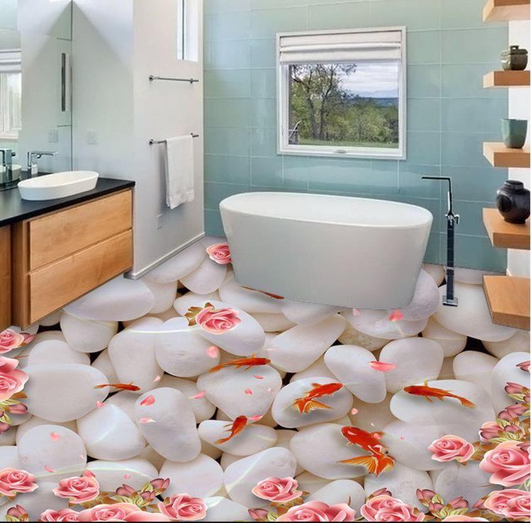 3d floor photo wallpaper Custom floor tiles Water in the goose soft stone goldfish 3d mural wallpaper for living room pvc flooring roll