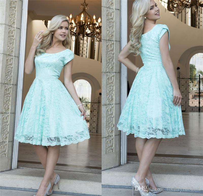 Vintage Mint Lace Short Modest Bridesmaid Dresses 2017 With Short Sleeves A Line  Cap Sleeves Bridesmaids Dresses Country Wedding Party Dress Beach ... 037958b588d1