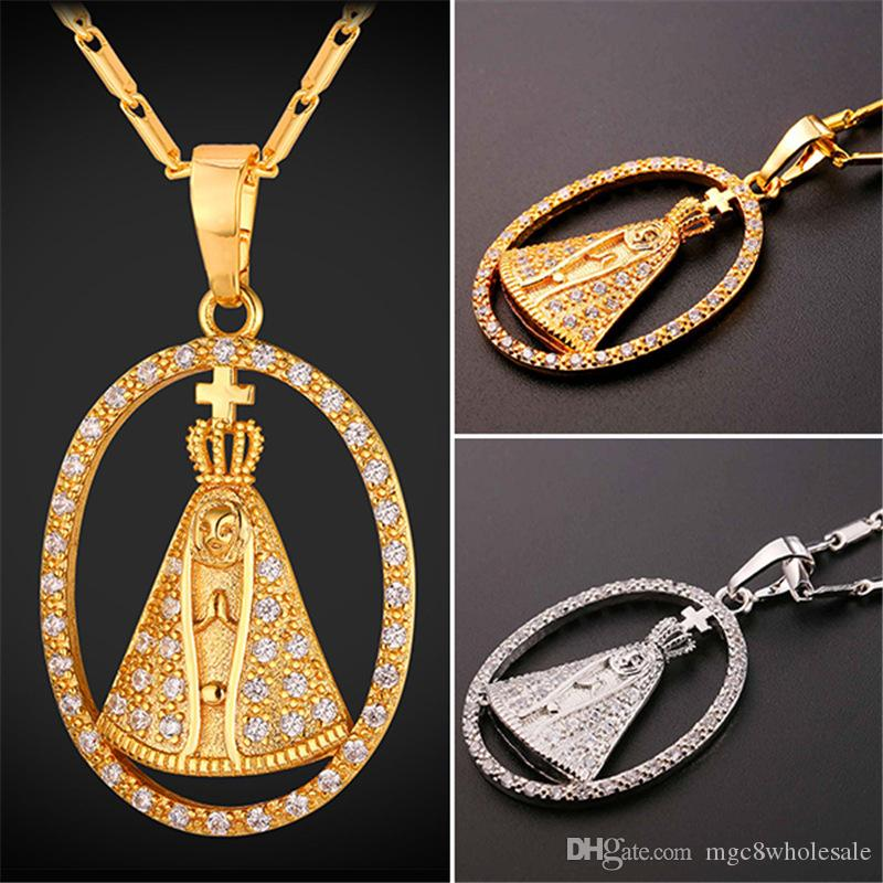 5c7e057fe12c7 U7 Pope Pontiff Tiara Pendant Necklace Cubic Zirconia Gold/Platinum Plated  Chain for Women/Men Crown The Pope Jewelry Perfect Gift P2483