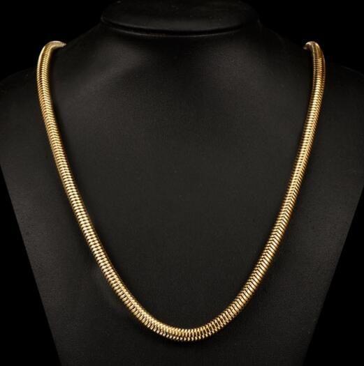 18K 금도금 목걸이 패션 OL 여성의 장식품 부드러운 꽉 원형 뱀 뼈 체인 구리 보석 N400