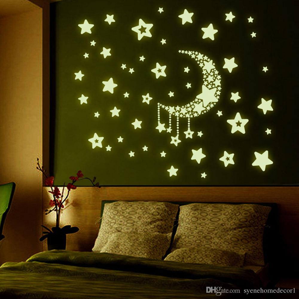 8 Designs Fluorescent Luminous Pvc Wall Stickers/Glow In The Dark Moon Star  3d Background Vinyl Wall Decal For Kids Gifts Nursery Wall Decals Nursery  Wall ... Part 72