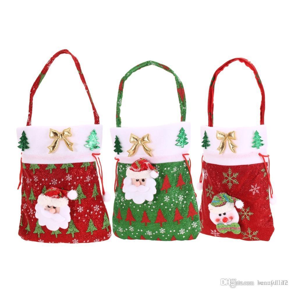 New Year Christmas Gift Bag Santa Claus Kids Candy Gift Bags Handbag ...