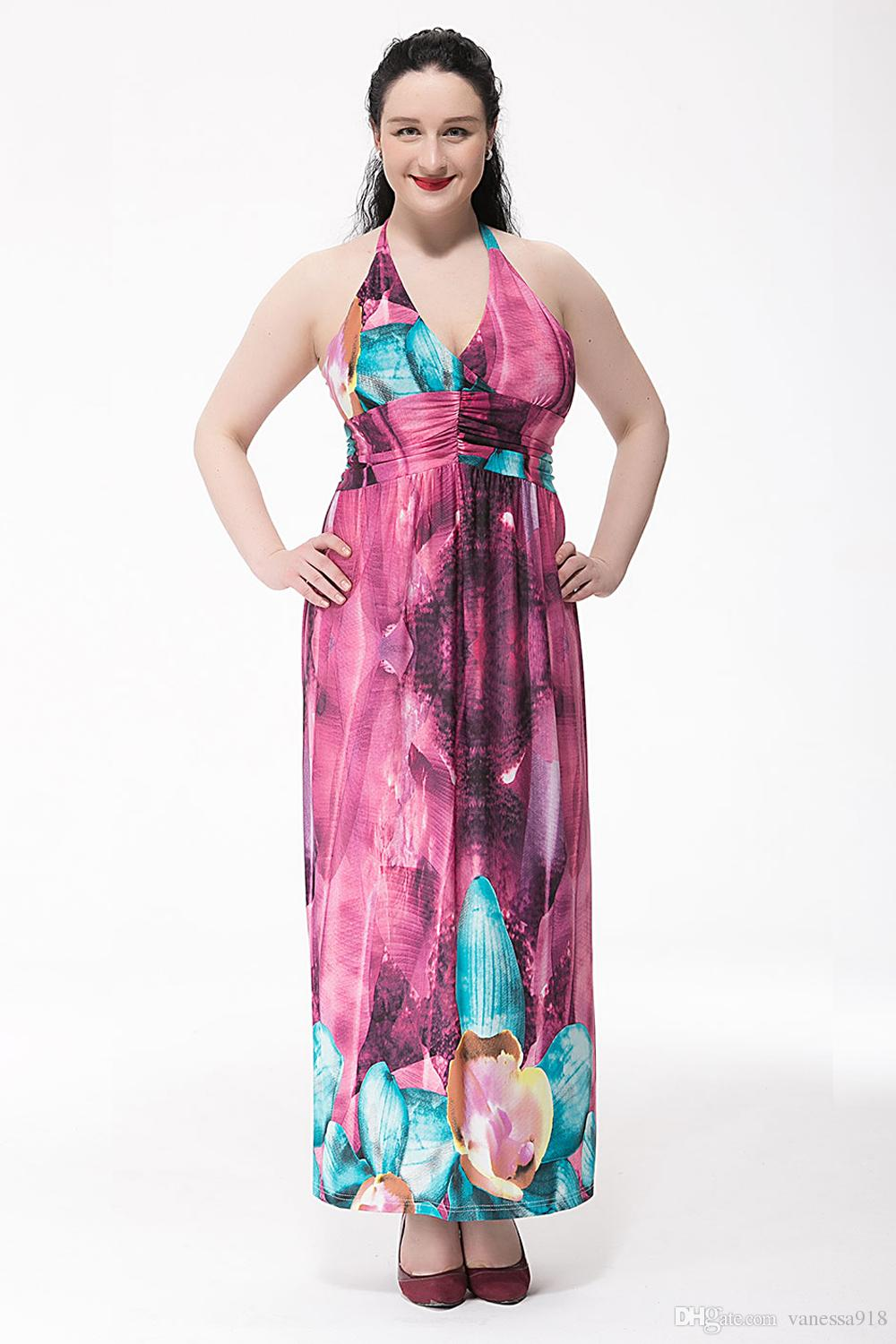 6XL 5XL Oversized Bohemian Dress Women Purple Floral Printed Backless Halter Summer Casual Long Dress Plus Size SQ-010
