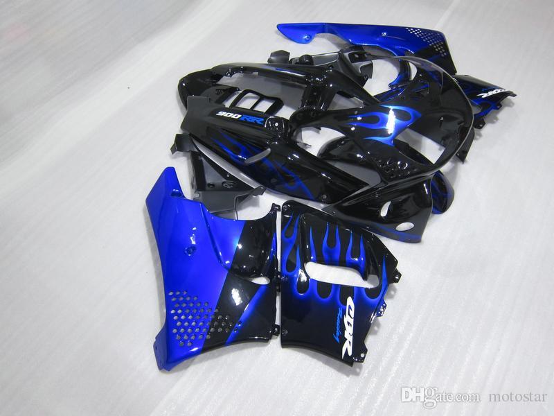 Hot sale Fairing kit for Honda CBR 900RR 1996 1997 blue flames black fairings set for CBR900RR 96 97 OT15
