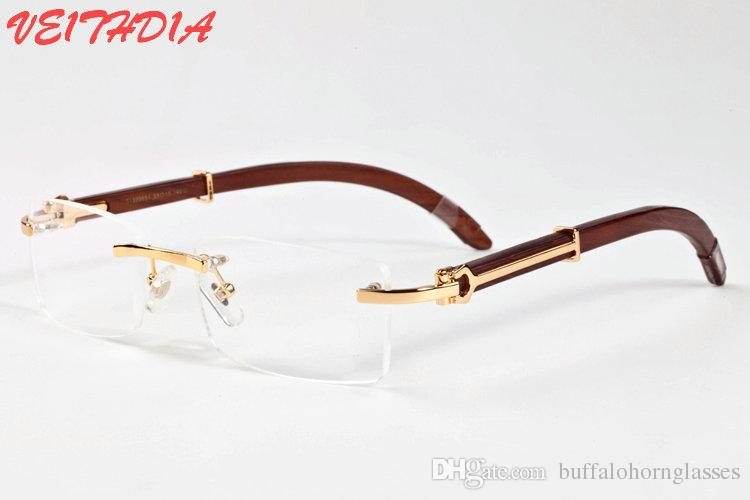 5152af2079 Brand Designer 2018 Rimless Buffalo Horn Glasses Women Wood Sunglasses For  Men Bamboo Frame Clear Lenses Rimless Glasses With Box Reading Glasses ...