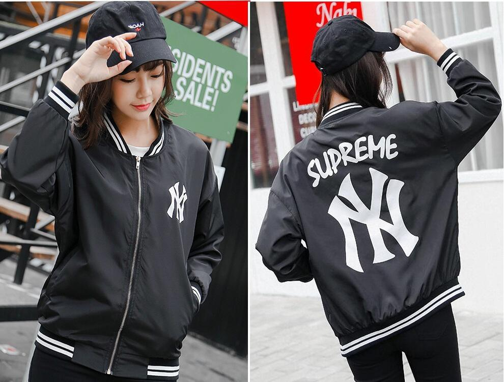 Fashion Ny Letter Famle Printed Bomber Jacket Casual Long Sleeve ...