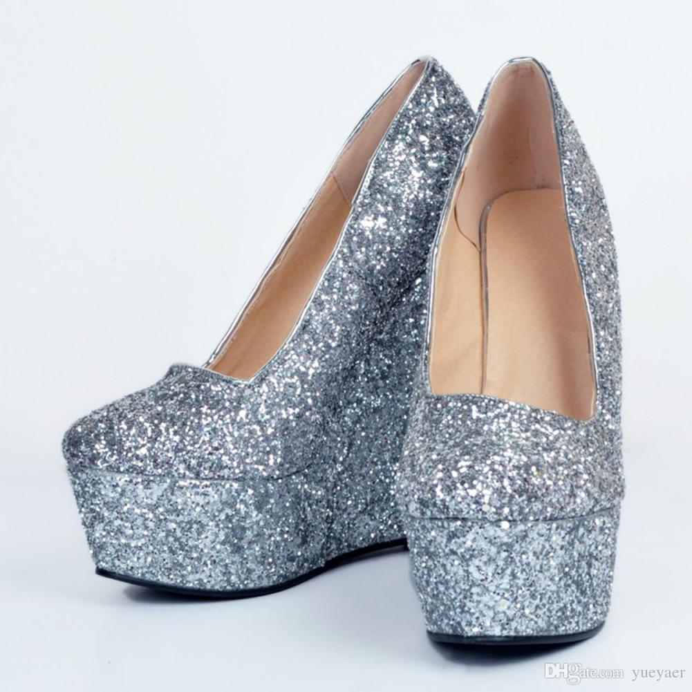 Zandina Hot Sale Womens Fashion Handmade 15cm Wadge High Heel Platform Glitter Slip-on Party Pumps Shoes Silver XD087