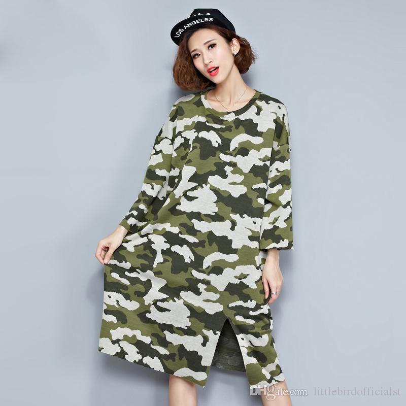 06f2fc55057 Plus Size Women Dress Autumn Style T-Shirt Camouflage Cotton Casual Fashion  Female Loose Tops Tees Big Size New Split Dresses Online with  34.74 Piece  on ...