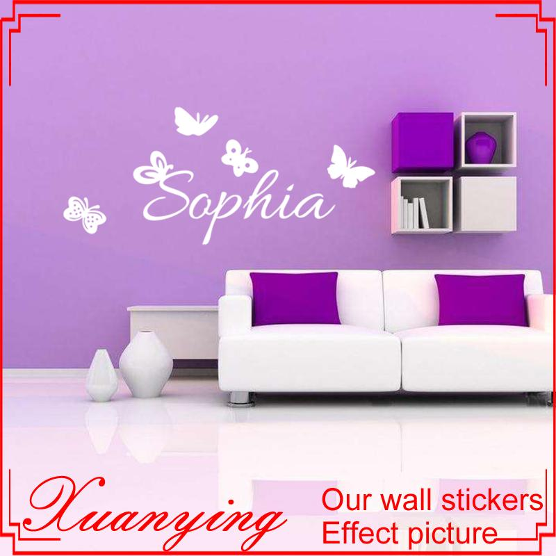 butterflies personalized decal custom kids name wall sticker for
