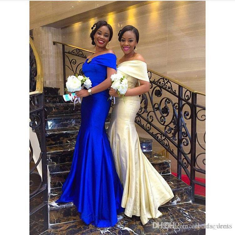 African Royal Blue Champagne Mermaid Long Bridesmaid Dresses Beaded ...