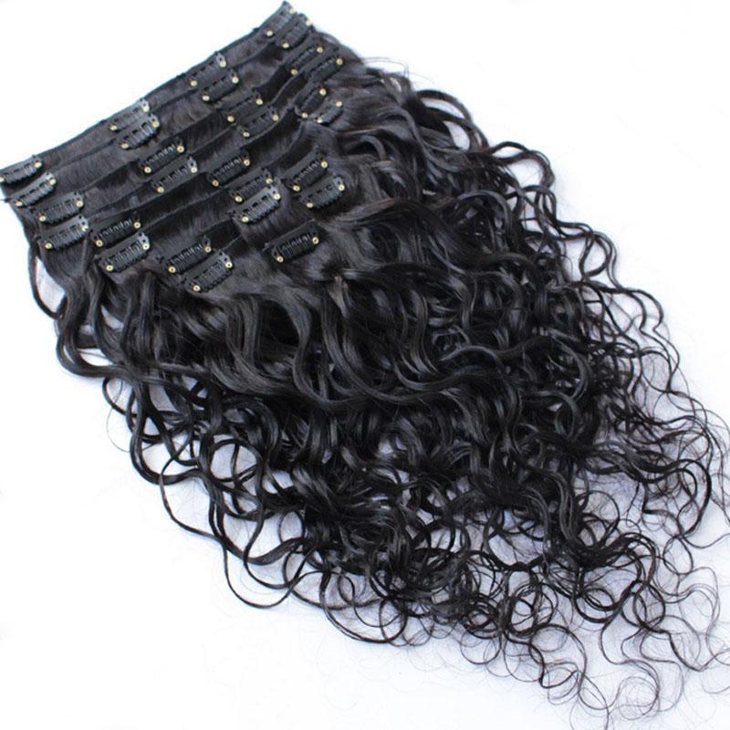 Extensiones mojadas y onduladas del pelo humano de la India Clip barato completo de la cabeza en las extensiones del pelo Onda de agua / set 120g / set Envío libre