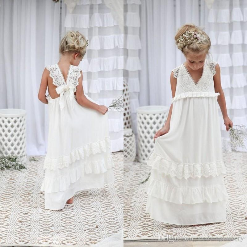 682f0193998 Lovely 2017 Boho Flower Girl Dresses A Line V Neck Sleeveless Lace  Appliques Chiffon Long Kids Gown for Beach Weddings Open Back Custom Flower  Girl Dress ...