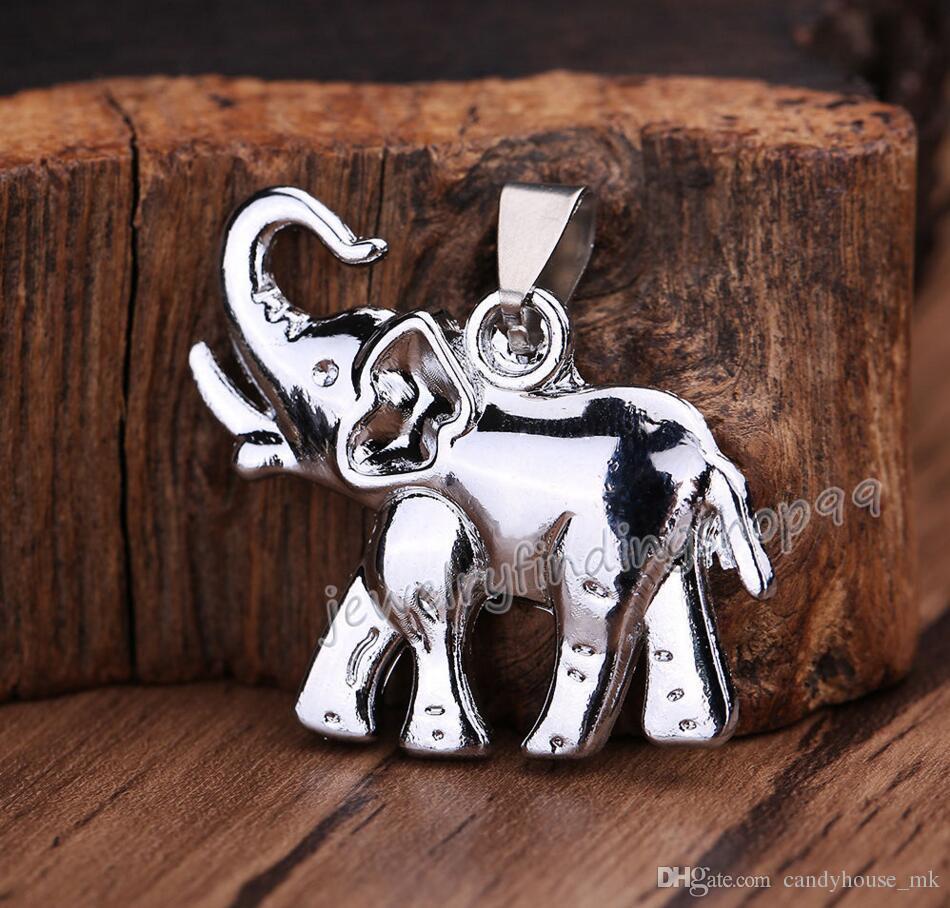 heiße neue Unisex Herren Titan Stahl Elefant Anhänger Halskette Kette Schmuck Geschenk