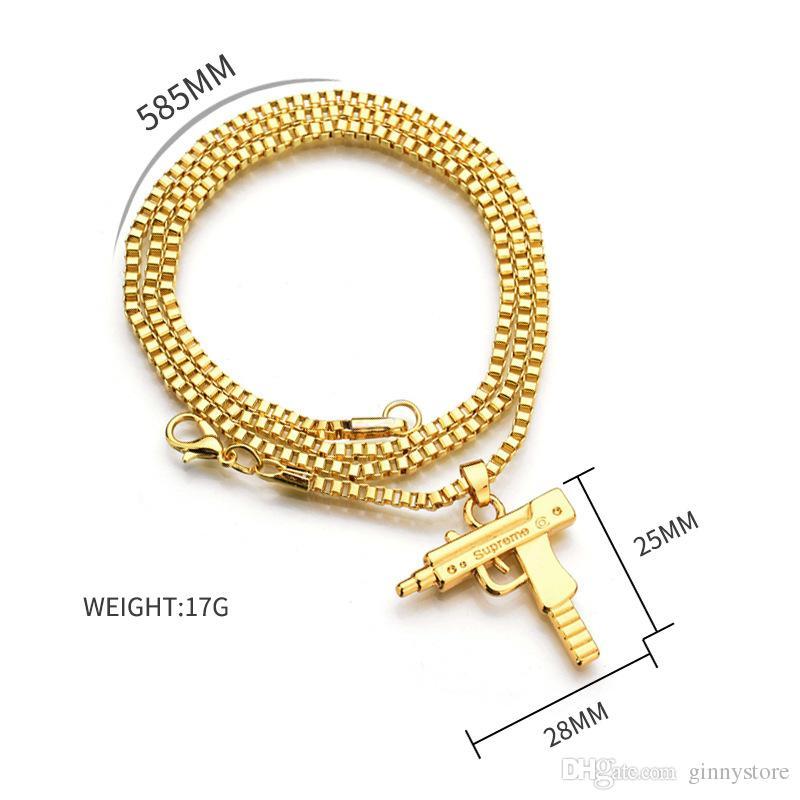 HOT Hip Hop Collares Grabado Pistola Forma Uzi Colgante de Oro de Alta Calidad Collar de Cadena de Oro Joyería de Moda Popular Colgante