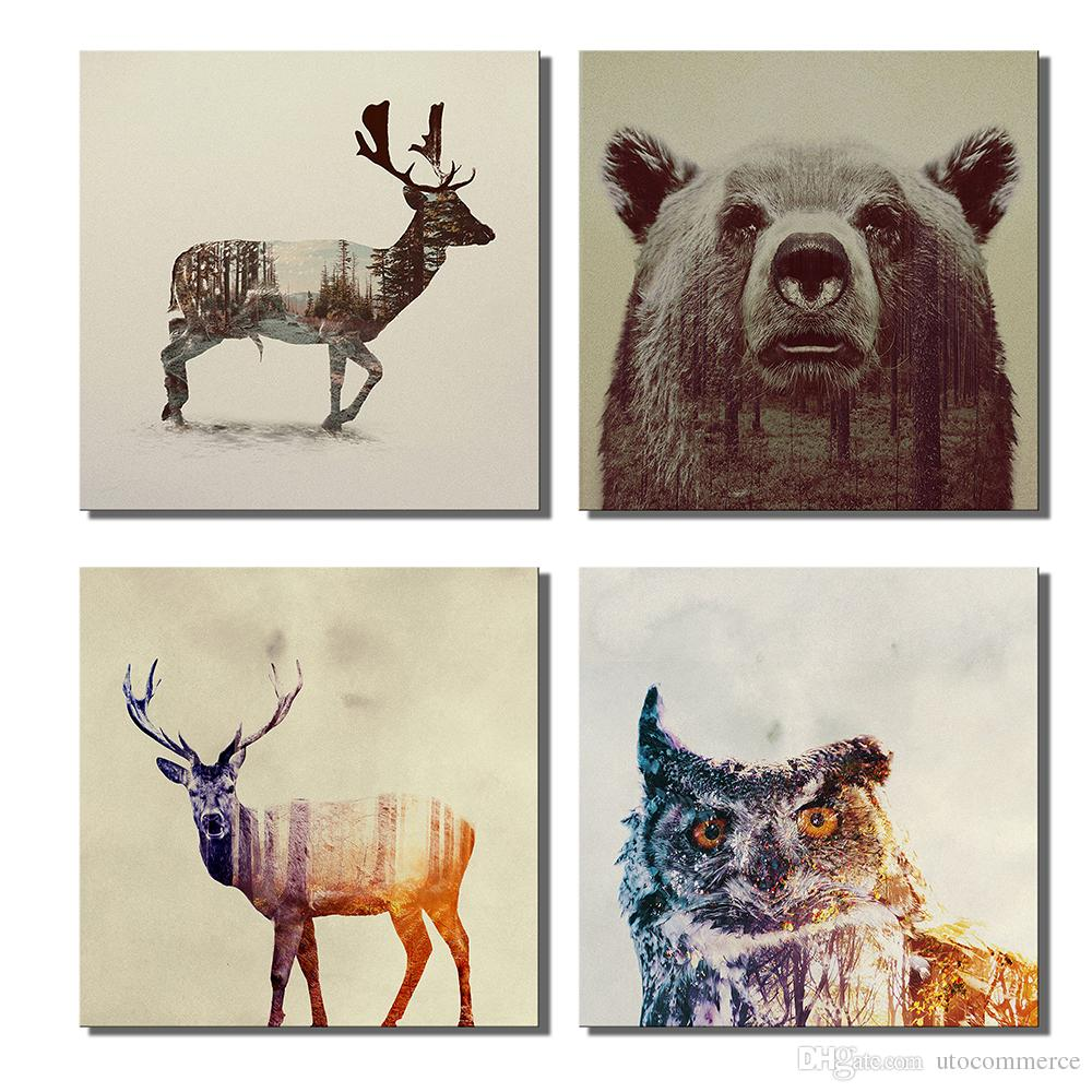 2018 Animal Double Exposure Photography Canvas Wall Art Prints 12 X ...