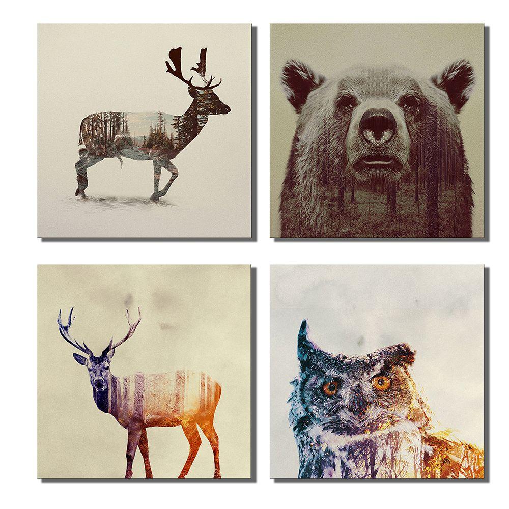 2018 animal double exposure photography canvas wall art prints 12 x