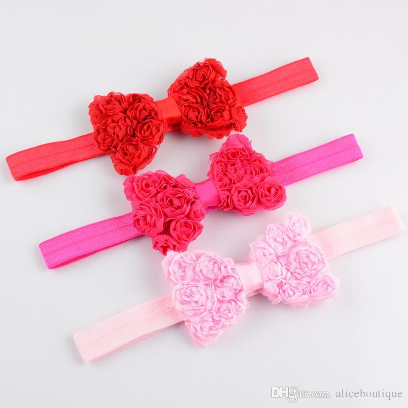 chiffon rosette hair bows elastic ribbon head band,baby girls newborn infants hairbands bow headbands FD74