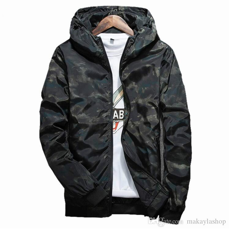 Spring Autumn Mens Casual Camouflage Hoodie Jacket Men Waterproof Clothes Men's Windbreaker Coat Male Outwear 4XL
