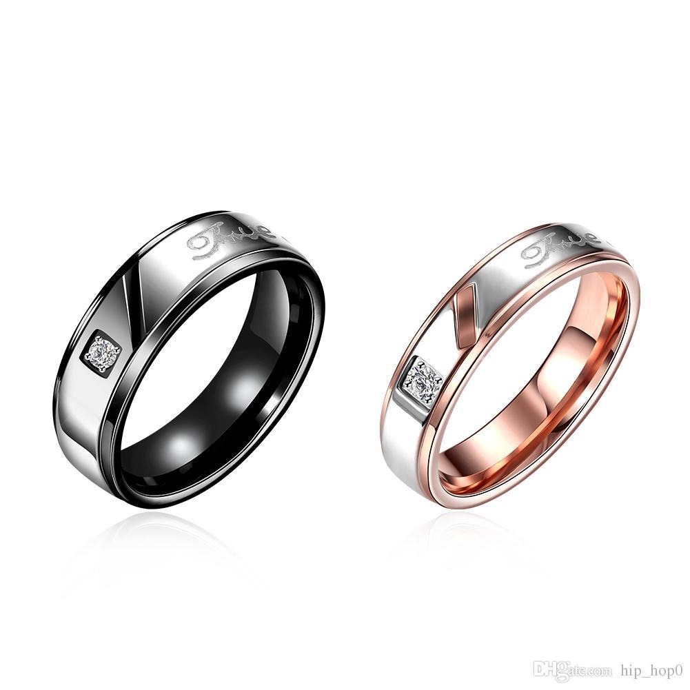 2017 316l Titanium Steel Couple Rings Rose Gold Plated Gun Black ...