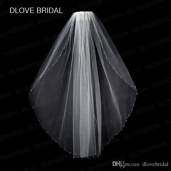 New Design Clear Crystal Bridal Veil with Comb One Layer Fingertip Length Beaded Wedding Hair Accessory White Ivory