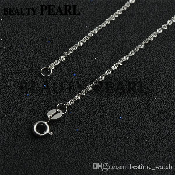 Wholesale Sterling Silver DIY Jewellery Necklace Collar 1mm 925 Sterling Silver Water Wave Chain