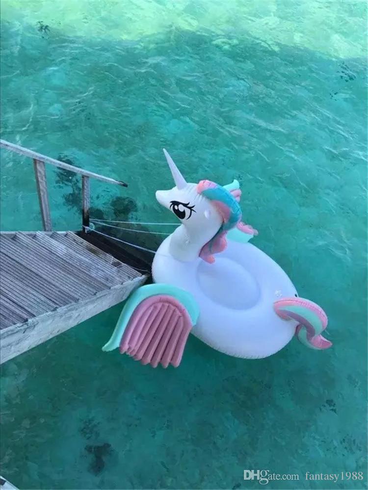 Gonfiabile Galleggianti I bambini adulti di Summer Tubi Swim Ride-On Piscina Spiaggia giocattoli gonfiabili Nuoto galleggiante arcobaleno cavallo DHL / FedEx Ship