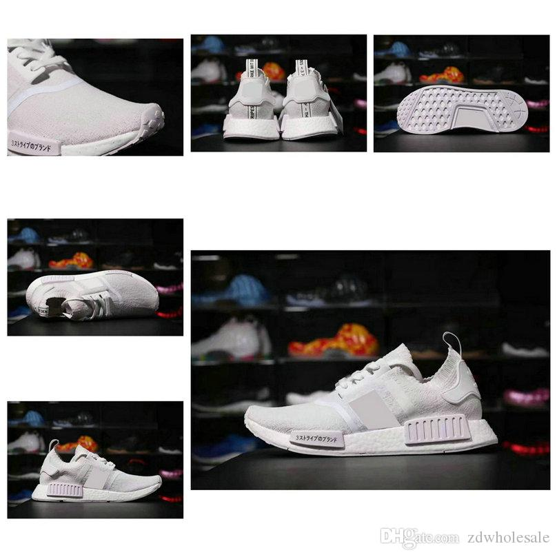 NMD R1 Primeknit Triple White JAPAN BZ0221 NMDS R1 PK Shoes Size 36-45 Men  Women Runner Shoes Top Quality Real Boost cheap nmd r1 japan boost