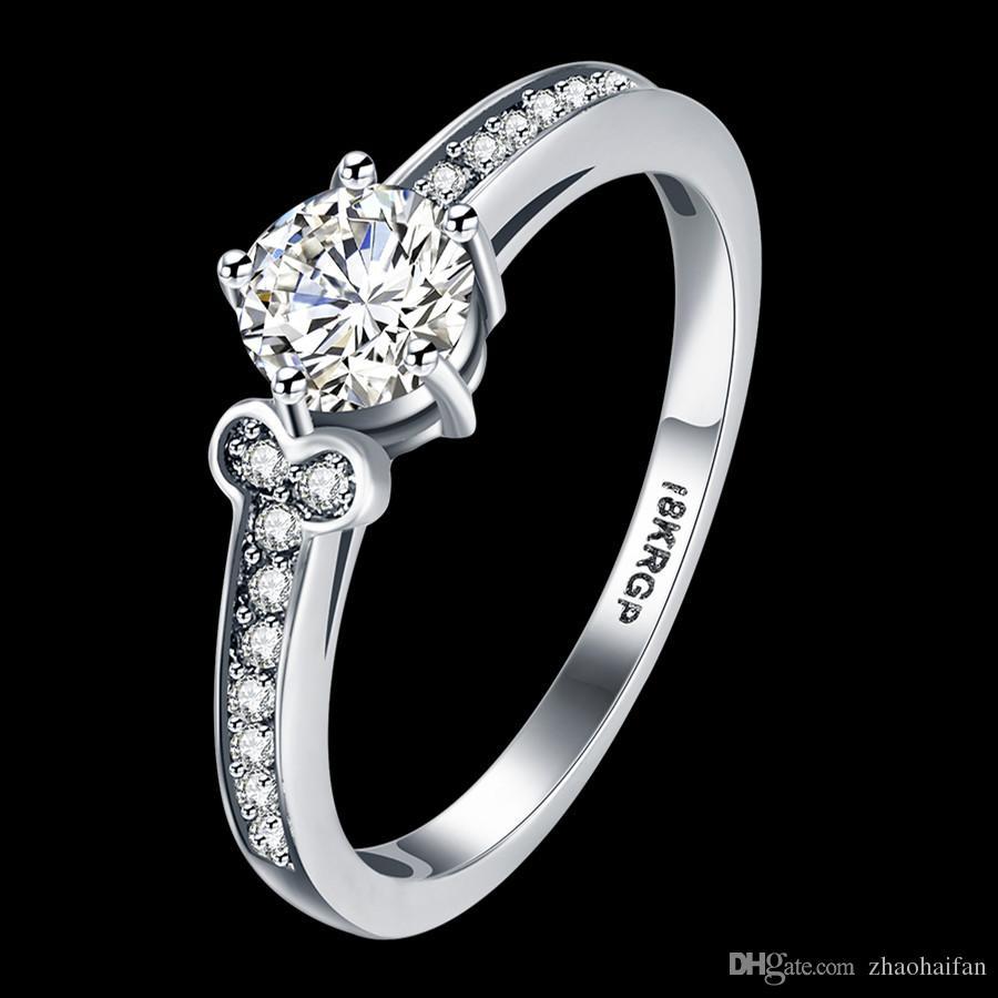 0c8b3b19cf51 18KRGP белое золото покрытием элегантные обручальные кольца модные  аксессуары цирконий Кристалл участия годовщины ювелирных изделий