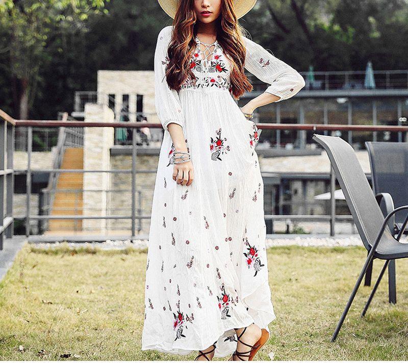 057912671e3abc Acheter Blanc Boho Longue Robe Coton Chic Vintage Floral Broderie V Cou  Gland Occasionnel Maxi Robes De Plage Bohème Femmes Vacances Robe Automne  ...