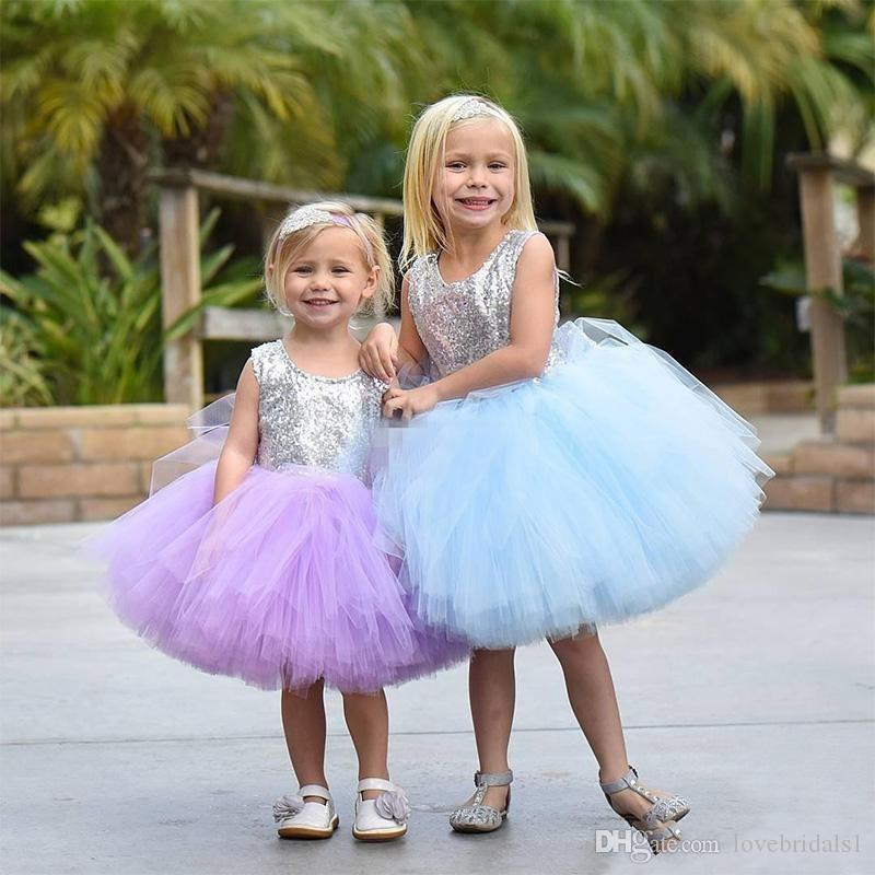 2019 Puffy Tulle Sequin flower girls Dress Cute Knee Length Ball Gown first communion Dresses Toddler Pageant Gowns