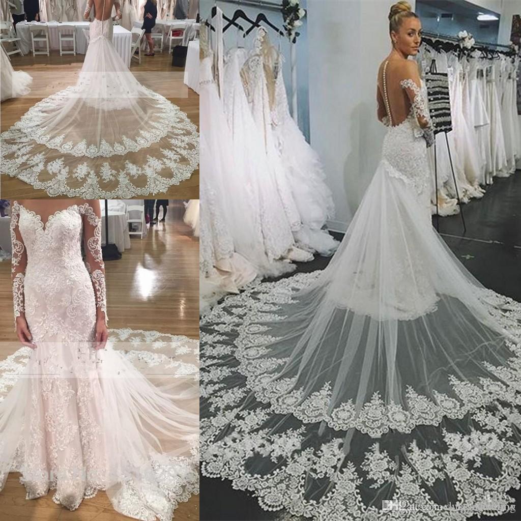 sexy illusion back wedding dresses 2017 mermaid fishtail layers