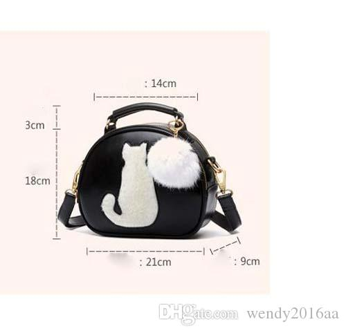 2017 Women Makeup Bags Crossbody Bag For Women PU Leather Cosmetic Bags Full Moon Candy Color Cute Cat With Fur Ball