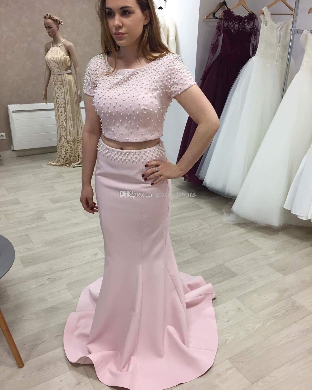 3392ae48c72 Two Piece Pink Formal Dresses Scoop Short Sleeve Mermaid Evening Dresses  Pearls Beaded Sparkly Evening Party Dresses V Back Graduation Gowns Simple  Evening ...
