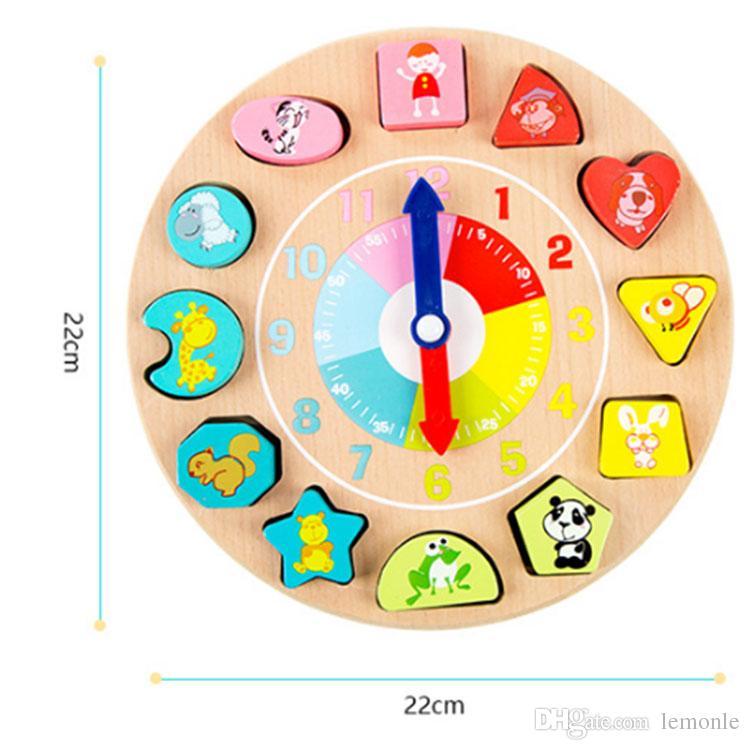 Blocos de madeira brinquedos Geometria Digital Relógio de Brinquedo Montessori Crianças Brinquedo Educativo Bebê Presente de Aniversário