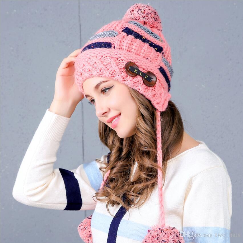 Women S Knitted Beanie Skullies Warm Hats With Earbud Autumn Winter  Outdoors Warm Headwear Crochet Mink Ball Poms Berets LC JN Stocking Cap  Baby Sun Hat ... 7c0fe657fd4