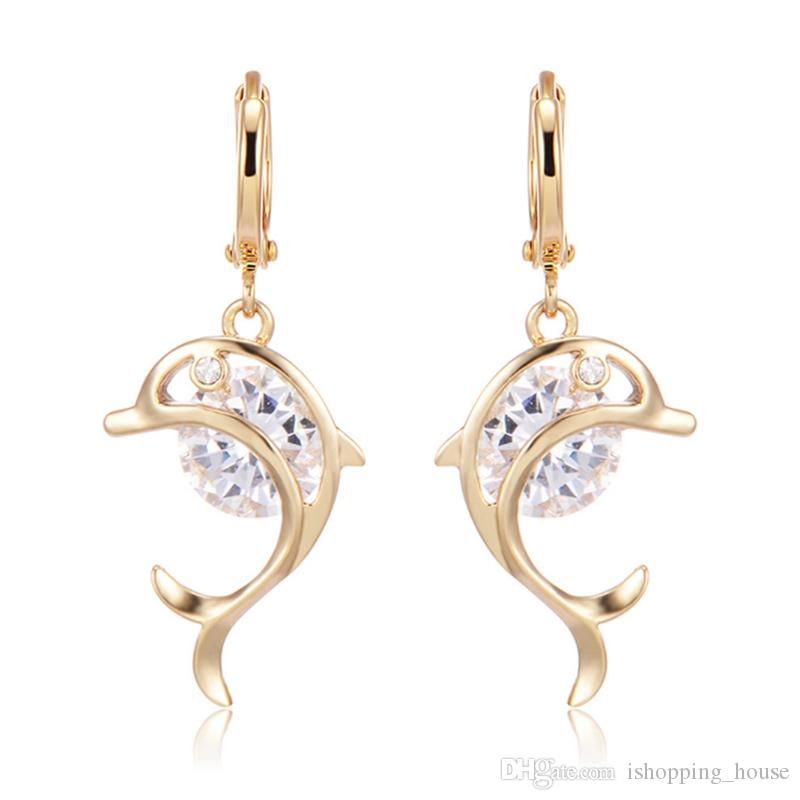 2018 Lovery Earring For Teen Girls 18k Yellow Gold Plated Dolphin ...