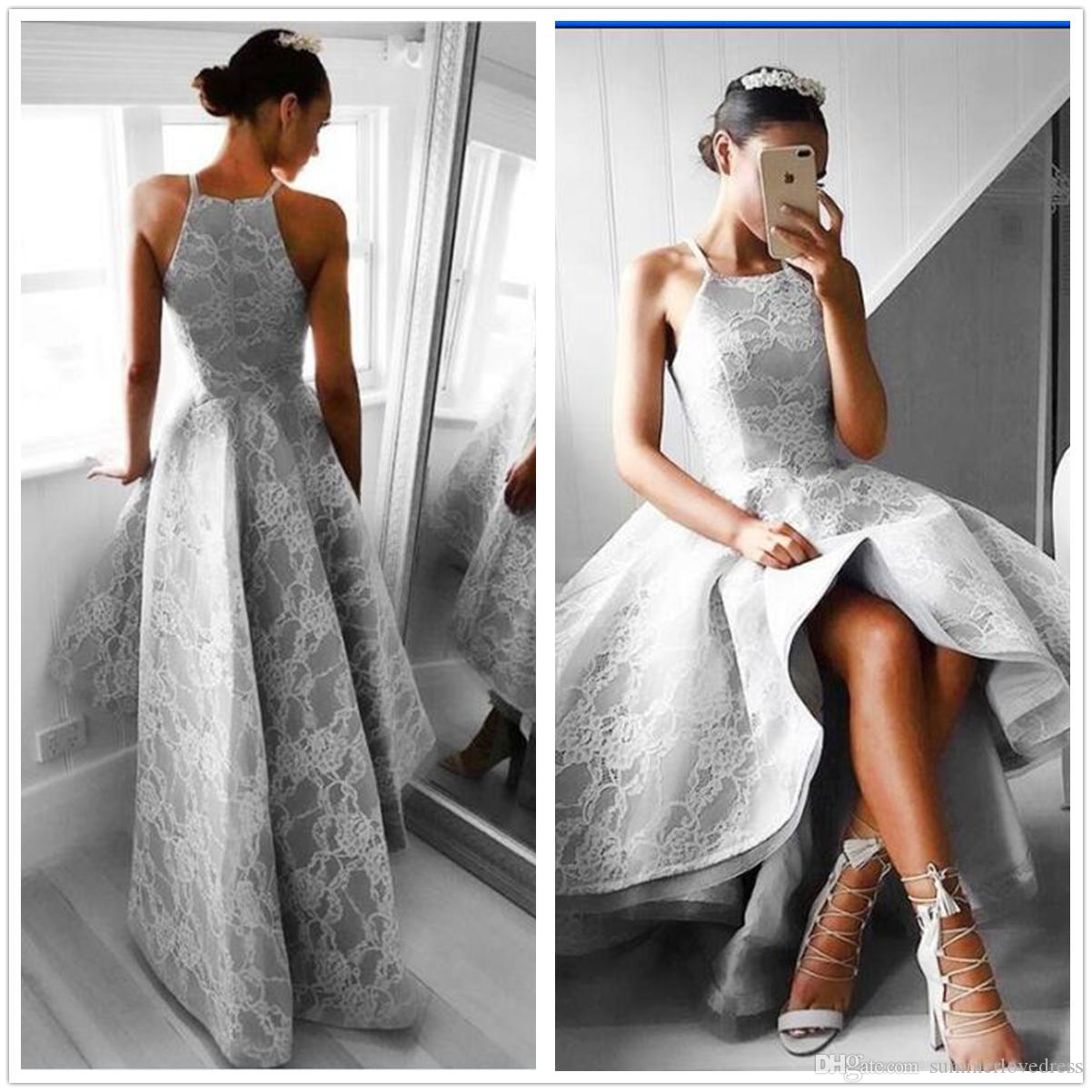 Grey High Low Bridesmaid Dresses