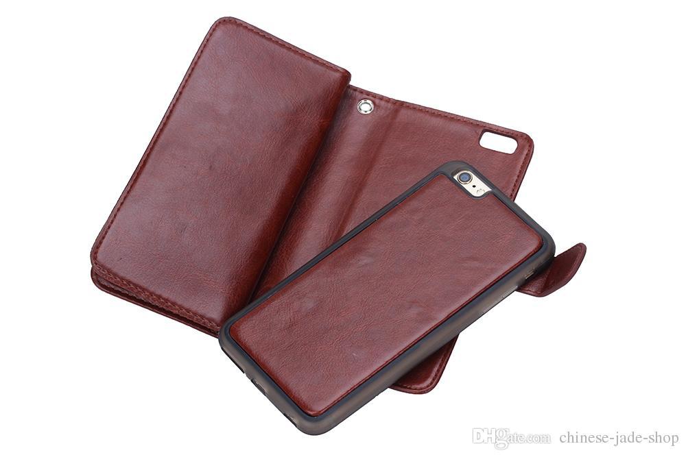 2in1 magnetischer abnehmbarer 9 Karten-Mappen-Leder-Kasten für iphone 6 plus iphone 7 plus Rand der Galaxie s7 Rand s6 plus Anmerkung 4 Anmerkung 5 /