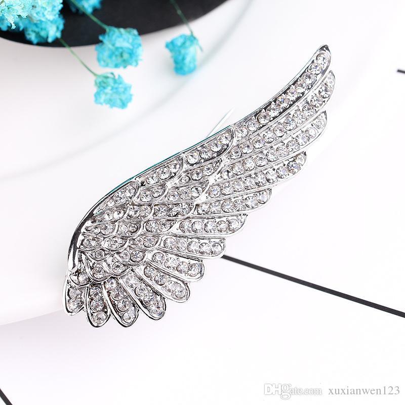Heißer verkauf Schwarz Metall Engel wings Broschen Vintage-Schmuck Simulierte Perle Bouquet Brosche Frauen Sicherheitsnadeln Zubehör