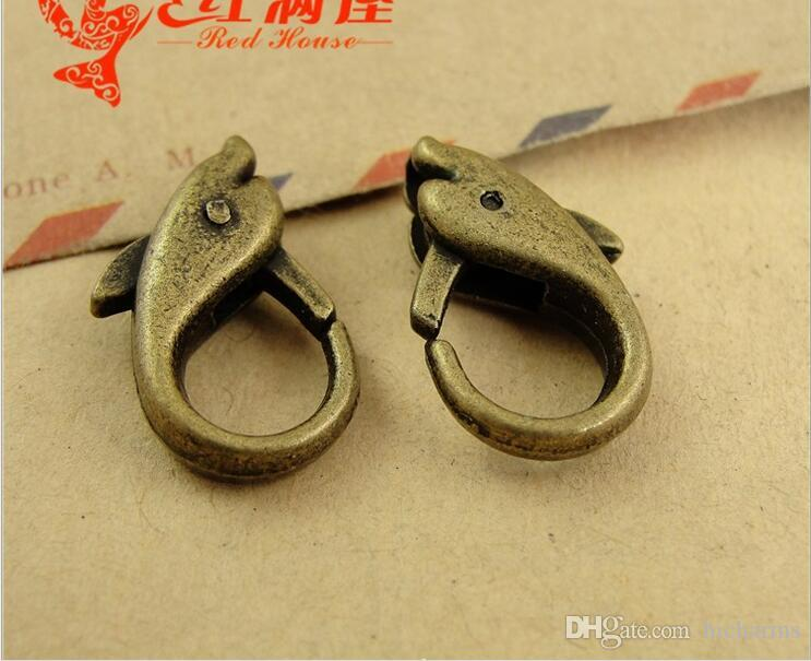 18*12MM Antique Bronze alloy Dolphin charm lobster clasp for bracelet, vintage silver jewelry clasp for necklace, metal key ring holder hook