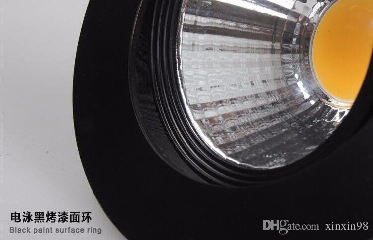 Dimmbare LED-Strahler 10W 15W Schwarz Shell COB LED Downlights dimmbar COB Spot-Wandeinbaulicht Glühlampe AC110V / AC220V