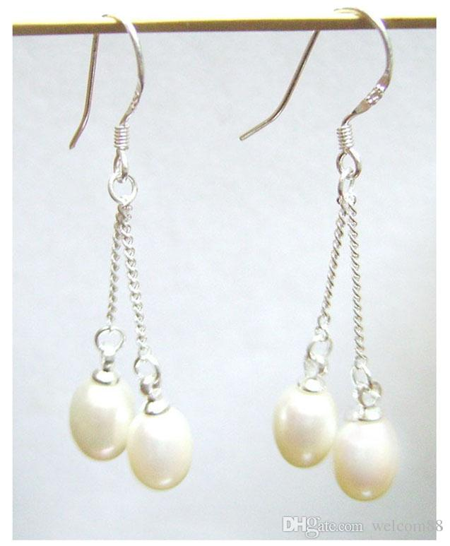 White Pearl Earrings Dangle Chandelier Silver Hook For DIY Gift Craft Jewelry C2 7x9mm