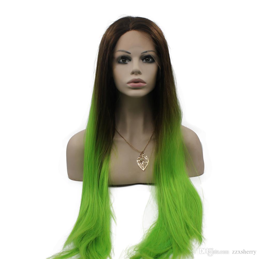 Long Straight Two Tone Lace Front Ombre Green Cosplay Party Wig