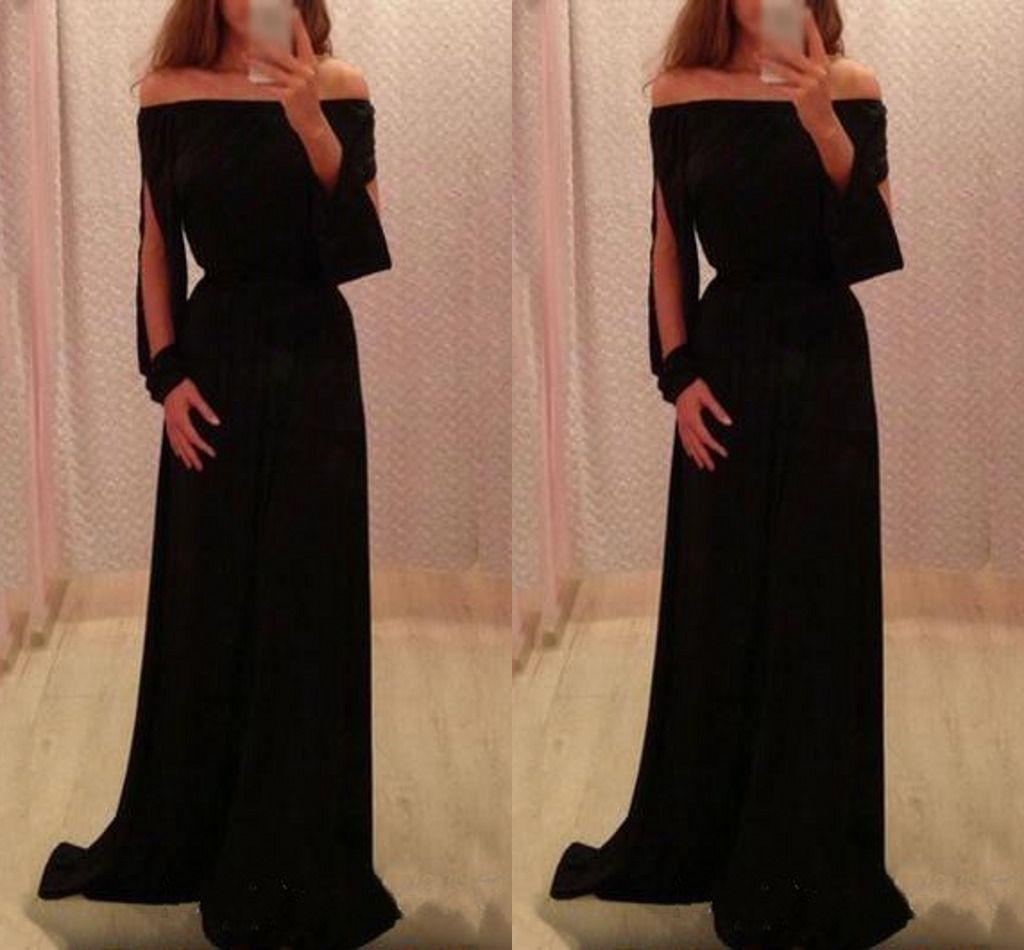 Elegant Simple Black Evening Dresses Floor Length Mermaid Prom Dress ...