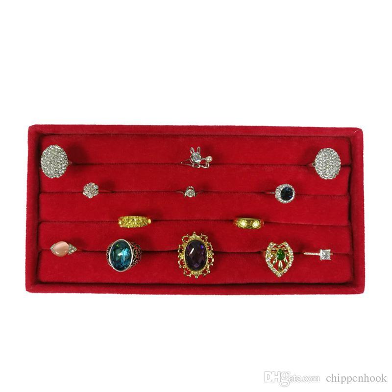 Brand New Velvet Ring Holder Jewelry Earring Display Organizer Storage Case Red Velvet Cufflinks Ring Storage Box Tray 11*22*3 cm