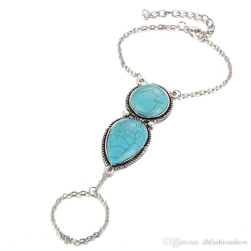 Vintage Bohemian Geometry Turquoise Bracelet & Anklet for Women Antique Silver Charms Bracelet Maxi Beach Jewelry as gift