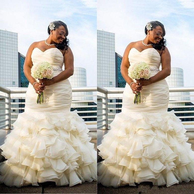 Vintage Plus Size Mermaid Wedding Dresses Ruched Cascading